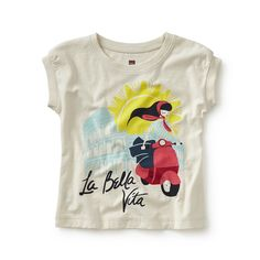"Tea SS16 La Bella Vita Graphic Tee in chalk - La bella vita means ""the good life"" in Italian. This sweet tee sports a girl scooting around some of Italy's most spectacular sights. It's inspired by the film ""Roman Holiday"" as well as the artwork of Italian artist Lora Lamm. - $22.50"