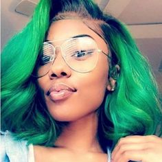 green hairstyles  surprise hair color for black women  short lace wig  www.surprisehair.com