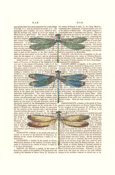 Vintage Dragonflies Dragonfly Print : Digital Illustration Giclee Art Print Mixed Media Odonata Odonatology wall art wall decor Wall Hanging. $10.00, via Etsy.