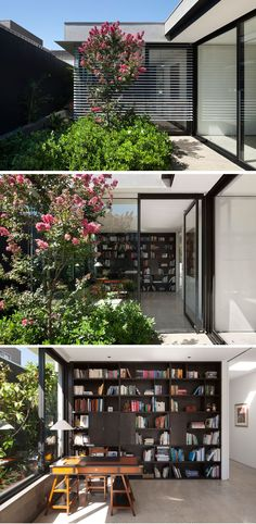 The Toorak House By AM Architecture Somewhat hidden behind the plants in this modern courtyard is a door to an office. Inside, there's floor-to-ceiling wood shelving and a desk sits by the window. Glass Corner Shelves, Floating Glass Shelves, Glass Shelves Kitchen, Indoor Courtyard, Modern Courtyard, Outdoor Office, Indoor Outdoor Living, Glass Front Door, Sliding Glass Door