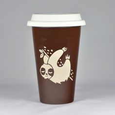 Sloth is what happens before coffee. This reusable travel coffee mug comes in black or java brown. The double-walled ceramic keeps your coffee hot, and your hands cool. Ceramic travel coffee mugs - -