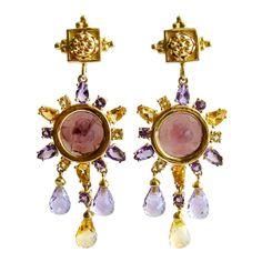 Citrine Amethyst Venetian Intaglio Grace Earrings