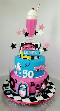 Diner Cake - cake by Tascha's Cakes Moms 50th Birthday, Retro Birthday, 70th Birthday Parties, Themed Birthday Cakes, Sweet 16 Birthday, Themed Cakes, Diner Party, Retro Party, Bolo Neon