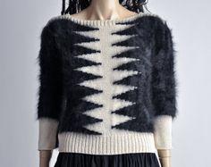 vintage ivory knit sweater / angora slv / zig zag by persephonevintage