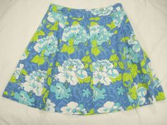 Skirt-10P-A-Line-Floral-STRETCH-Blue-Green-White-ST-JOHNS-Bay-Cruise-Resort