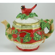 Christmas Tea Pot~Cardinal Santa Teapot