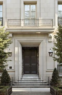 New limestone townhouse in Chicago's Gold Coast by BGDC Homes.