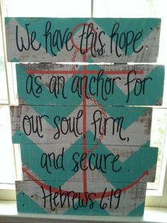 We have this hope as an anchor for our soul, firm, and secure. Hebrews 6:19    Teal and white chevron, coral anchor, black font    APPROXIMATE