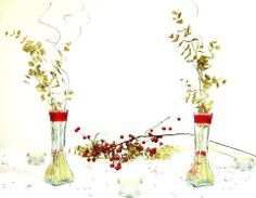 glass #vases filled with sand & red beads wrapped in sheer red ribbon. Gold glittered leaves accompanied by silver lining rest in these masterpieces. (Original Piccanti Creation) Like us on FB!