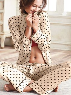 Shop sleepwear for women and choose from styles in silk, flannel, cotton and more! Get the perfect pajamas to fit any mood, from soft and cozy to sexy silk now at Victoria's Secret. Pyjama Satin, Satin Pajamas, Pyjamas, Pajamas All Day, Cute Pajamas, Sleepwear & Loungewear, Nightwear, Pajama Outfits, Cute Outfits