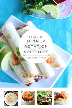 HEALTHY DINNER ROTATION SCHEDULE! Do you struggle with knowing what to eat for dinner every night? Want a fun way to involve the whole family at dinnertime? With this handy rotation schedule each day of the week brings a fun new dinner idea! You'll never run out of ideas on healthy ways to break up your day & you'll satisfy your hunger in the most nutritious way! http://www.superhealthykids.com/healthy-theme-dinner-rotation-schedule-free-meal-plan/
