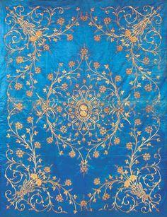 Metal Thread Embroidered Ottoman Satin Duvet, Turkey, mid 19th century