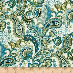 Cassandra Paisley Teal from @fabricdotcom  Designed by Fabri-Quilt, this cotton print fabric is perfect for quilting, apparel and home decor accents. Colors include green, teal, flax and almond.