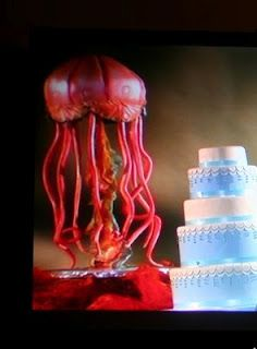 Red jellyfish cake - by Charm City Cakes