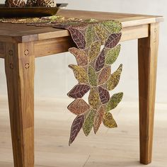 Multi Colored Foliage Beaded Table Runner Polyester Pier 1 Imports Furniture