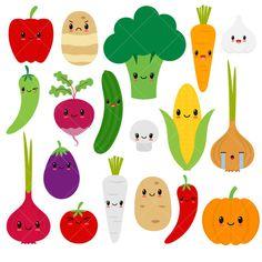 Kawaii verduras Linda vegetales imágenes prediseñadas / feliz