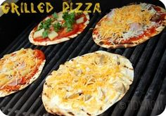 GRILLED TORTILLA PIZZA.  This is and easy to pack camp food! Pre-chop veggies and shred cheese at home. Makes a great mid day snack or lunch. Kids could make their own!!