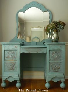 Vintage Dressing Table finished in ASCP French Provence Blue