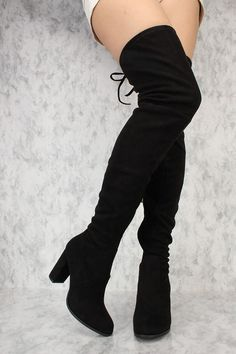 These sexy and stylish thigh high heel boots are a perfect fit to wear on top of some cute leggings and a nice shirt to go out with. Featuring, a rounded pointed closed toe, faux suede material, round heel, inner side zipper closure, back lace detailing, smooth lining, and cushioned footbed. Approximately 3 1/2 inch heels, 14 1/2 inch circumference, and 25 inch shaft.