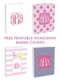 Make your own monogram binder covers! Free Printable Monogram Binder Covers from printablemonogram.com #freeprintable