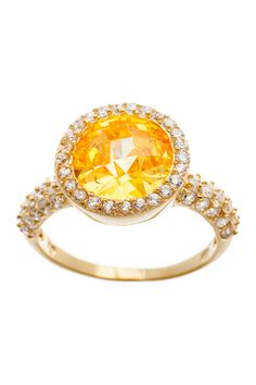 Sterling silver, Yellow & White CZ Round Ring