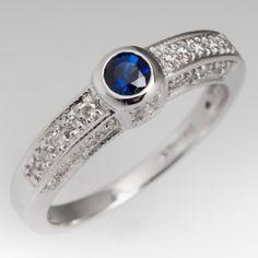 Bezel Set Blue Sapphire Ring w/ Diamond Accents 14K