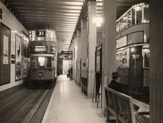 London trams in the Kingsway Tram Tunnel, Holborn. London.        (Image: London Transport Museum/TfL.)