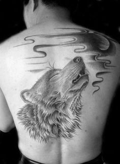 Shaded Wolf Howling At The Moon Guys Back Tattoos