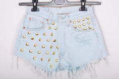 High waisted Levi Shorts Denim Vintage Destroyed DIY Cut Off Jeans S. $49.00, via Etsy.