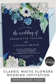 Classic White Flowers Wedding Invitation by Fresh & Yummy Paperie. The romantic floral design features gorgeous watercolor flowers on a navy blue background. Perfect for an elegant fall or late summer wedding. Save this invite idea as inspiration for later or click to personalize and purchase yours today. Exclusively on Zazzle.com. #freshandyummypaperie #weddings #weddinginvitation Blue Wedding Invitations, Wedding Invitation Design, Invitation Ideas, Invitation Cards, Invites, White Wedding Flowers, White Flowers, Wedding White, White Roses