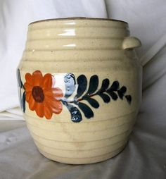 Collectible Cookie Jar Stoneware Crock Orange Flower  Etsy.