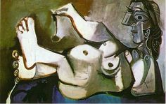 Reclining female nude playing with cat - Pablo Picasso 1964