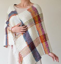 Halloween Handmade, Crochet, Rectangular Shawl, Kilim Pattern, Checked Pattern, Multicolor, Crochet Accessories, ReddApple Back To School