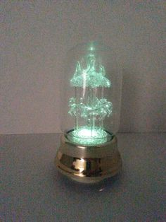 """Glass Dome & Carasel Music Box with Changing Color Lights - 8 1/2"""" tall - Works Great"""
