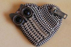 Silver Owl Vintage Zipper Lapel Pin.