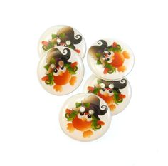 5 Witch Owl Halloween  Buttons.  5 Handmade by buttonsbyrobin, $9.99