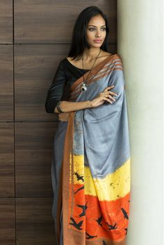 Batik Silk Saree - Evening Sky- Shipping from 5th August _ Order Now