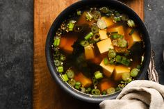 Sesame Miso Soup | LindseyeatsLA White Miso, Asian Soup, Miso Soup, Cooking Wine, Tofu, Seafood, Sea Food, Seafood Dishes