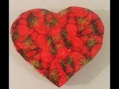 Como fazer caixa de papelão em forma de coração - YouTube