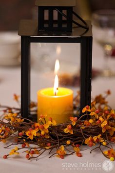 Candlelight and fall colors decorated --Going to try this in my own home for Fall