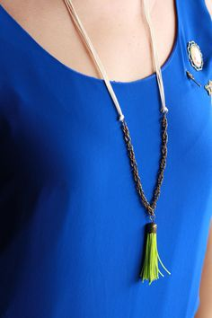 Summer Tassel Long Necklace by freckleddaisy on Etsy