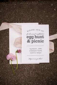 Egg hunt & picnic invitation.