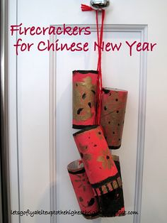 DIY Firecrackers - paper rolls and paint, string in pairs- could be good for New Year's OR the 4th of July