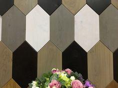 wood mosaic hexagon