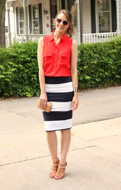 Kimberly of Penny Pincher Fashion dresses up her striped skirt with Le Chic's Cork Box Clutch!
