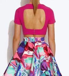 Aliexpress.com  Comprar Xd81 mujeres de moda elegante estiramiento túnica  sin respaldo ahuecar blusas vintage O cuello manga corta camisetas Crop tops  ... c82ff608589c0