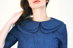 Denim Dress Blue Denim Dress Double Collar Dress by OffOn