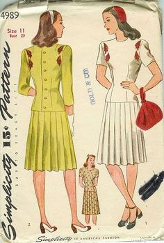 Vintage 1940s Pleated Teen Skirt Simplicity Sewing Pattern 4989 Bust 29 Hip 32