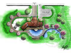 New House Tree Drawing Ideas Landscape Model, Landscape Architecture Drawing, Landscape Design Plans, Architecture Plan, Landscaping Design, Pond Design, Villa Design, Garden Design, Permaculture Design