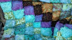 """Batik Rag Quilt, Lap Quilt, Blanket Throw, Handmade, Unique Gift Item, Aprox 55""""X55""""  Ready to Ship by BermudaStreetQuilts on Etsy"""